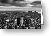 Manhattan Greeting Cards - NYC Manhattan Panorama Greeting Card by Nina Papiorek