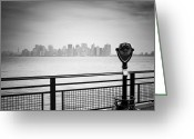 Hudson River Greeting Cards - NYC Manhattan View Greeting Card by Nina Papiorek