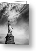 Manhattan Greeting Cards - NYC Miss Liberty Greeting Card by Nina Papiorek