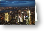 Cities Greeting Cards - NYC Night Lights Greeting Card by Nina Papiorek