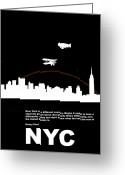 Manhattan Greeting Cards - NYC Night Poster Greeting Card by Irina  March