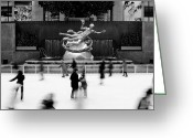 Rockefellar Greeting Cards - NYC Rockefellar Iceskating Greeting Card by Nina Papiorek