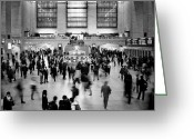 Metro Greeting Cards - NYC Rush Hour Greeting Card by Nina Papiorek