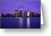 Pink Dawn Greeting Cards - NYC Skyline in Blue and Pink Greeting Card by Vicki Jauron