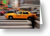 Traffic Greeting Cards - NYC Taxi Greeting Card by Benjamin Matthijs