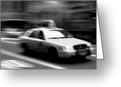 Speeding Taxi Greeting Cards - NYC Taxi BW16 Greeting Card by Scott Kelley