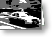 Speeding Taxi Greeting Cards - NYC Taxi BW3 Greeting Card by Scott Kelley