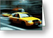 Speeding Taxi Greeting Cards - NYC Taxi Color 16 Greeting Card by Scott Kelley