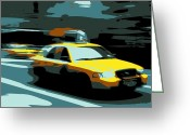 Speeding Taxi Greeting Cards - NYC Taxi Color 6 Greeting Card by Scott Kelley