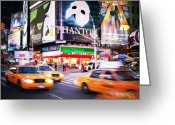 Building Greeting Cards - NYC Taxi Taxi Greeting Card by Nina Papiorek