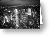 Nightshot Greeting Cards - NYC Times Square Greeting Card by Nina Papiorek