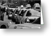 Speeding Taxi Greeting Cards - NYC Traffic BW16 Greeting Card by Scott Kelley