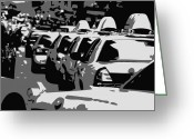 Speeding Taxi Greeting Cards - NYC Traffic BW3 Greeting Card by Scott Kelley