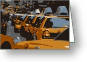 Speeding Taxi Greeting Cards - NYC Traffic Color 6 Greeting Card by Scott Kelley