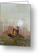 Greens Greeting Cards - NYC Tug Greeting Card by Christopher Jenkins