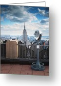 Hudson River Greeting Cards - NYC Viewpoint Greeting Card by Nina Papiorek