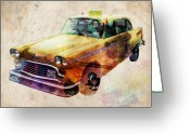 Yellow Greeting Cards - NYC Yellow Cab Greeting Card by Michael Tompsett