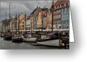 Colorful Buildings Greeting Cards - Nyhavn Greeting Card by Wade Aiken