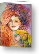 Female Fairy Abstract Greeting Cards - Nymph Child Greeting Card by Judith A Smothers