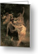Nymphs Greeting Cards - Nymphs and Satyr Greeting Card by Adolphe William Bouguereau