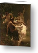 Sexuality Greeting Cards - Nymphs and Satyr Greeting Card by William Adolphe Bouguereau 