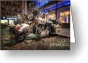 New York City Police Greeting Cards - NYPD Bikes Greeting Card by Yhun Suarez