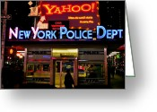 New York Signs Greeting Cards - NYPD Station Greeting Card by Michel Soucy