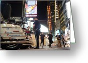 New York Cops Greeting Cards - NYPD Times Square Greeting Card by Robert Lacy