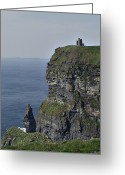 County Clare Greeting Cards - O Briens Tower at the Cliffs of Moher Ireland Greeting Card by Teresa Mucha