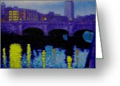 Hall Painting Greeting Cards - O Connell Bridge - Dublin Greeting Card by John  Nolan