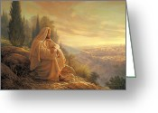 Watching Greeting Cards - O Jerusalem Greeting Card by Greg Olsen