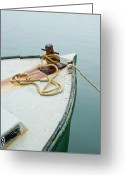 Martha Greeting Cards - Oak Bluffs Fishing Boat Greeting Card by Charles Harden