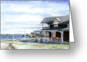Oak Pastels Greeting Cards - Oak Bluffs Winter Greeting Card by Paul Gardner