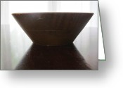 Wooden Bowls Greeting Cards - Oak bowl two Greeting Card by Tina M Wenger