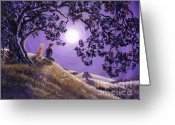 Laura Milnor Iverson Greeting Cards - Oak Tree Meditation Greeting Card by Laura Iverson