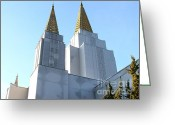 Churches Photo Greeting Cards - Oakland California Temple . The Church of Jesus Christ of Latter-Day Saints . 7D11360 Greeting Card by Wingsdomain Art and Photography