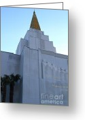 Churches Photo Greeting Cards - Oakland California Temple . The Church of Jesus Christ of Latter-Day Saints . 7D11364 Greeting Card by Wingsdomain Art and Photography