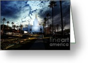 Christ Greeting Cards - Oakland California Temple . The Church of Jesus Christ of Latter-Day Saints Greeting Card by Wingsdomain Art and Photography