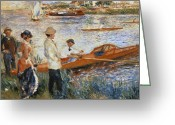 River Banks Greeting Cards - Oarsmen at Chatou Greeting Card by Pierre Auguste Renoir