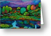 Purples Greeting Cards - Oasis Greeting Card by Johnathan Harris