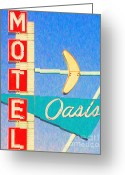 Welcome Signs Greeting Cards - Oasis Motel Tulsa Oklahoma Greeting Card by Wingsdomain Art and Photography
