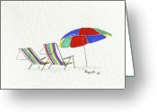 Beach Umbrella Painting Greeting Cards - Oasis Greeting Card by Richard Roselli