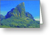 Oatman Greeting Cards - Oatman Mountain Greeting Card by Randall Weidner