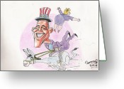 Hillary Clinton Greeting Cards - Obama and Hillary Clinton Greeting Card by Tanmay Singh