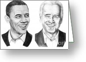 Barack Drawings Greeting Cards - Obama Biden Greeting Card by Murphy Elliott