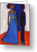 Michelle Obama Greeting Cards - Obama Black and Blue Greeting Card by Ricky Sencion