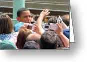 Glenn Mccurdy Greeting Cards - Obama Fans Greeting Card by Glenn McCurdy