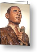 Barack Obama Sculpture Greeting Cards - Obama in a Red Oak Log - Up Close Greeting Card by Robert Crowell