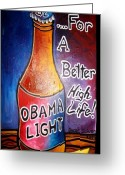 Barrack Obama Greeting Cards - Obama Light Greeting Card by Oscar Galvan