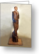 Barack Obama Sculpture Greeting Cards - Obama on the Stump Greeting Card by Robert Crowell